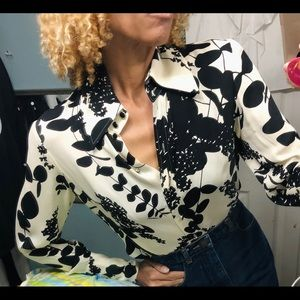 Magaschoni black white silk print blouse shirt S